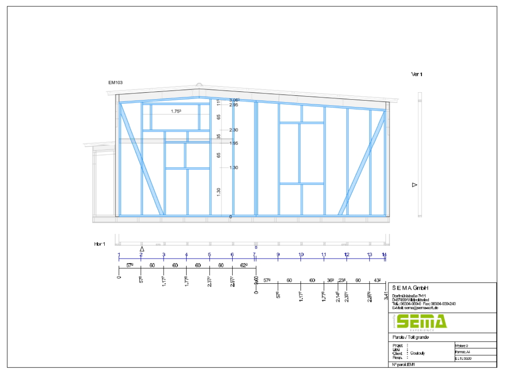 Plan SEMA d'une construction de tiny house