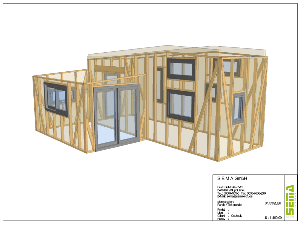 Vue 3d d'une construction de tiny house